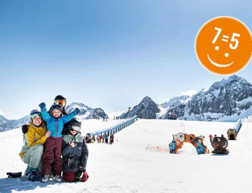 Happy family ski holiday 7=5